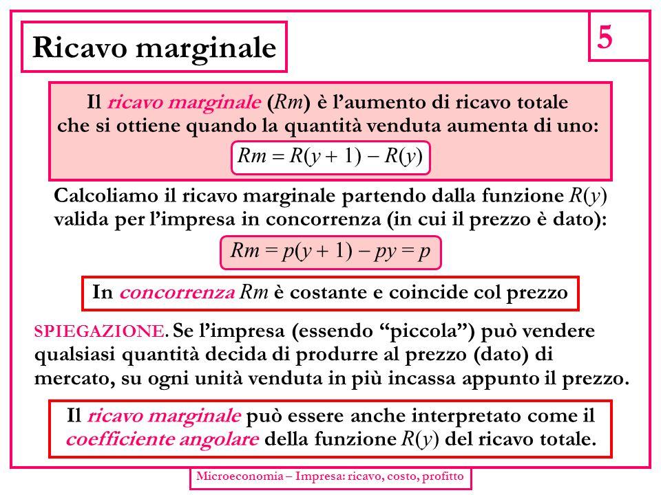 5 Microeconomia – Impresa: ricavo, costo, profitto Ricavo marginale Il ricavo marginale ( Rm ) è laumento di ricavo totale che si ottiene quando la qu