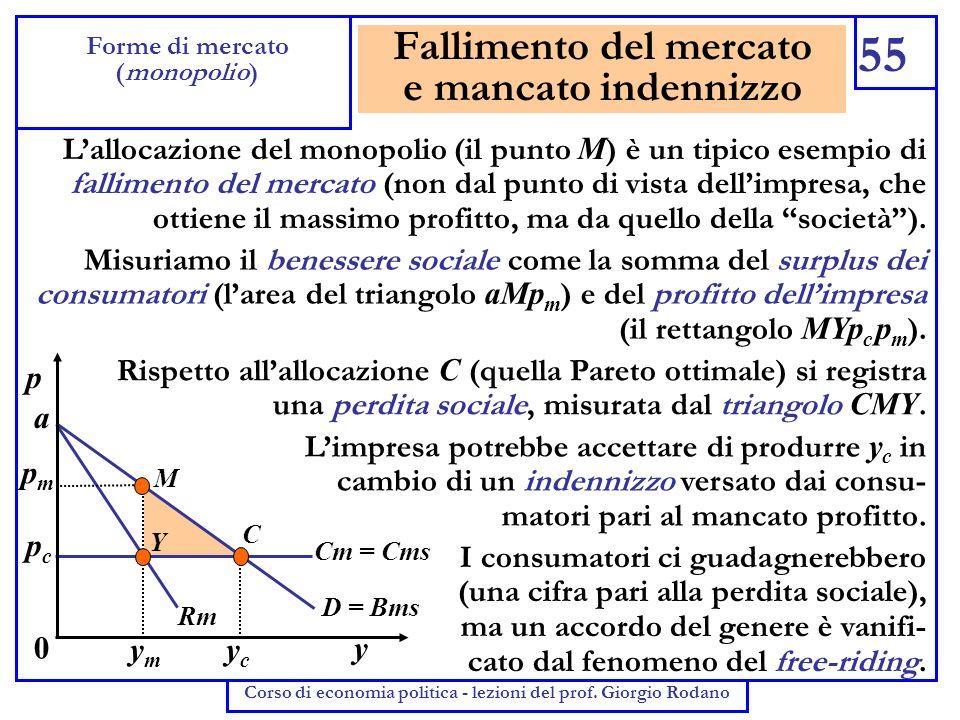 Fallimento del mercato e mancato indennizzo 55 Forme di mercato (monopolio) Corso di economia politica - lezioni del prof. Giorgio Rodano Lallocazione