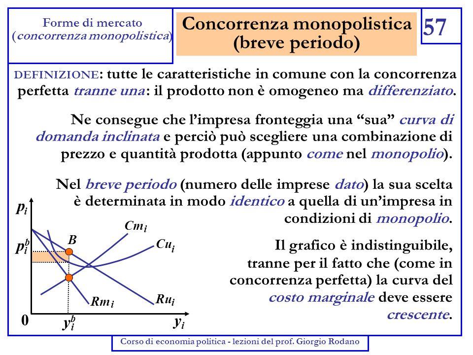 Concorrenza monopolistica (breve periodo) 57 Forme di mercato (concorrenza monopolistica) Corso di economia politica - lezioni del prof. Giorgio Rodan