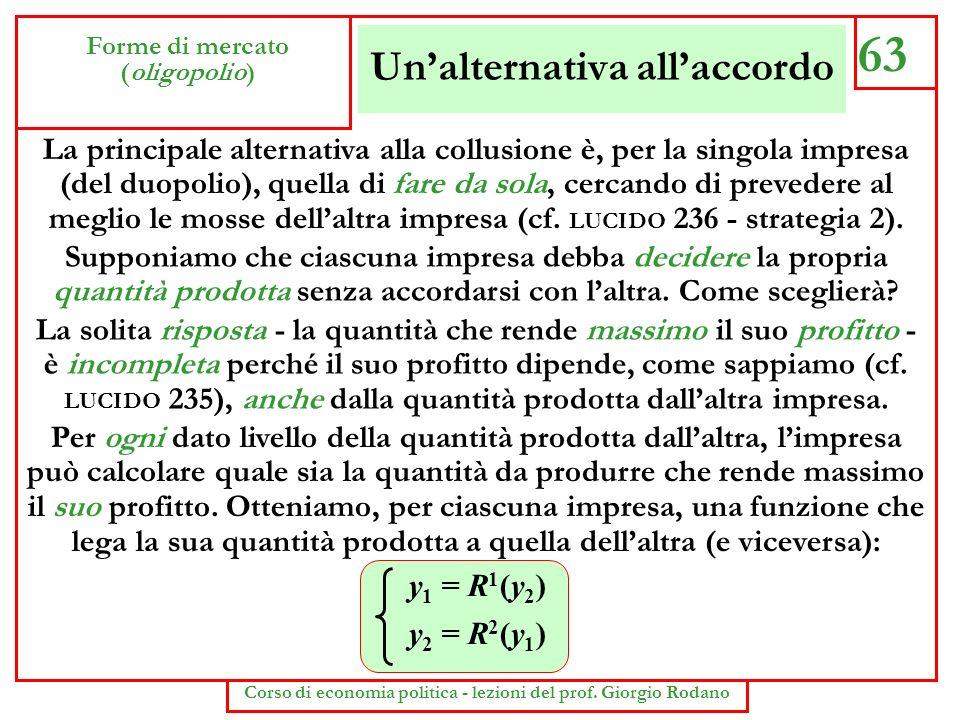 Unalternativa allaccordo 63 Forme di mercato (oligopolio) Corso di economia politica - lezioni del prof. Giorgio Rodano La principale alternativa alla