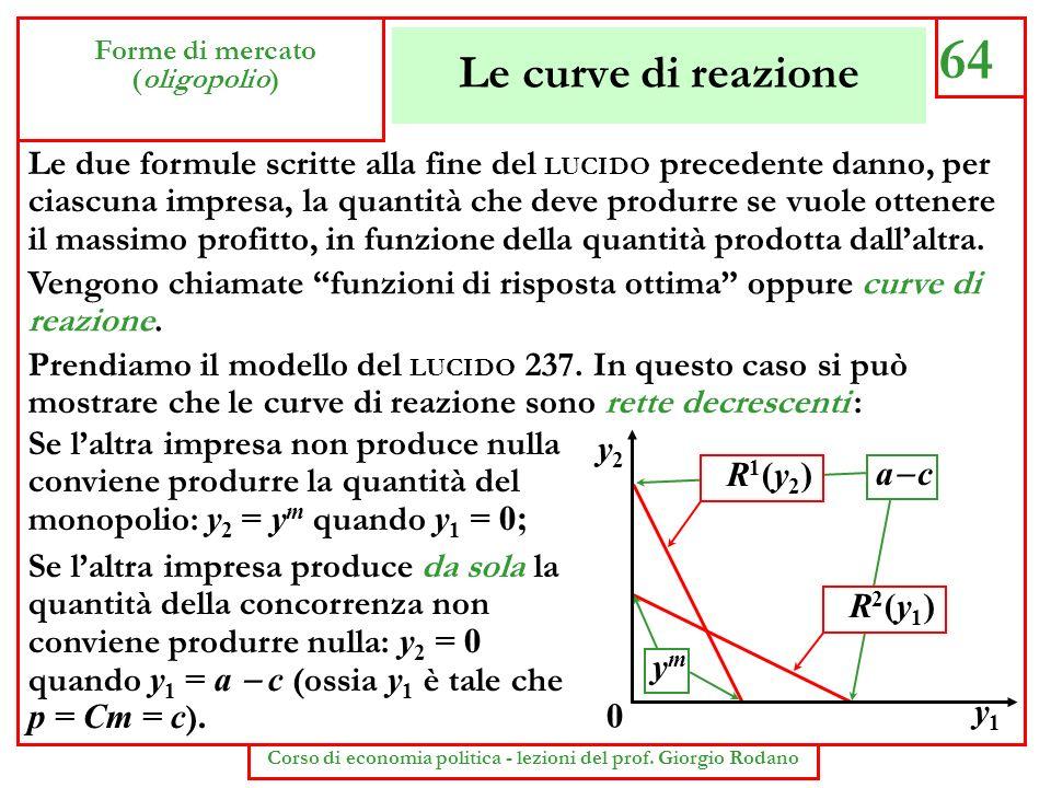 Le curve di reazione 64 Forme di mercato (oligopolio) Corso di economia politica - lezioni del prof. Giorgio Rodano Le due formule scritte alla fine d