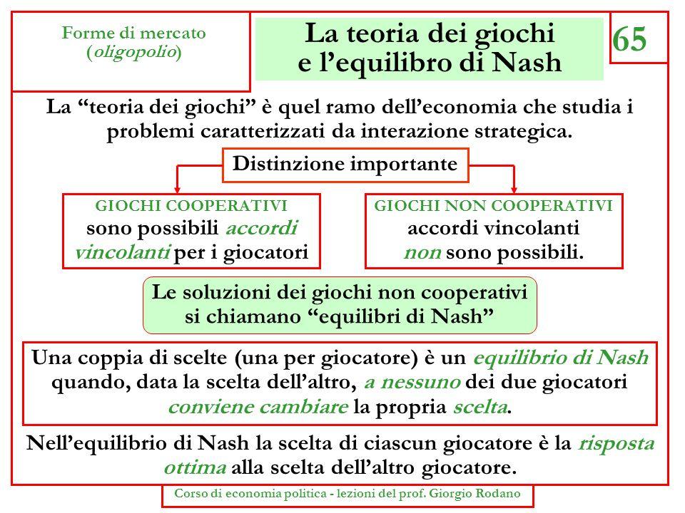La teoria dei giochi e lequilibro di Nash 65 Forme di mercato (oligopolio) Corso di economia politica - lezioni del prof. Giorgio Rodano La teoria dei