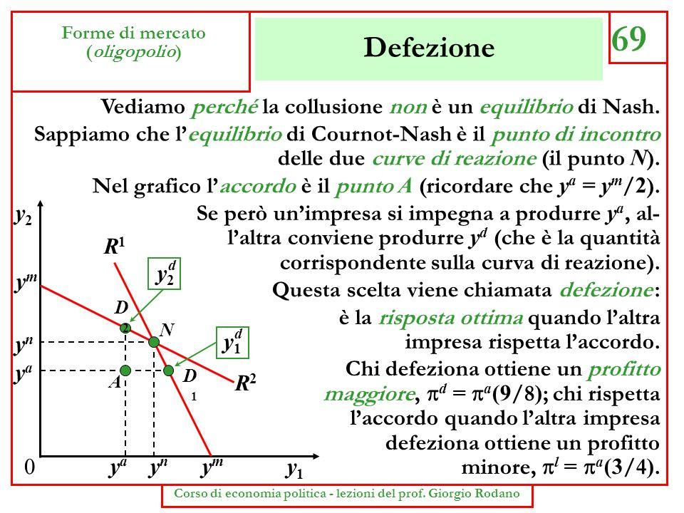 Defezione 69 Forme di mercato (oligopolio) Corso di economia politica - lezioni del prof. Giorgio Rodano Vediamo perché la collusione non è un equilib