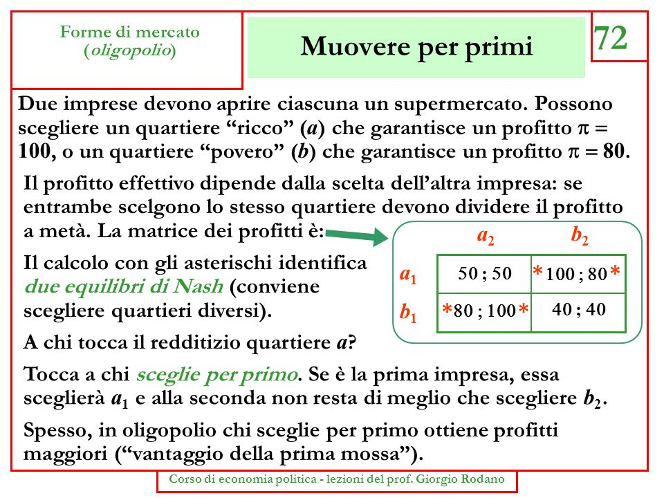 Muovere per primi 72 Forme di mercato (oligopolio) Corso di economia politica - lezioni del prof. Giorgio Rodano Due imprese devono aprire ciascuna un