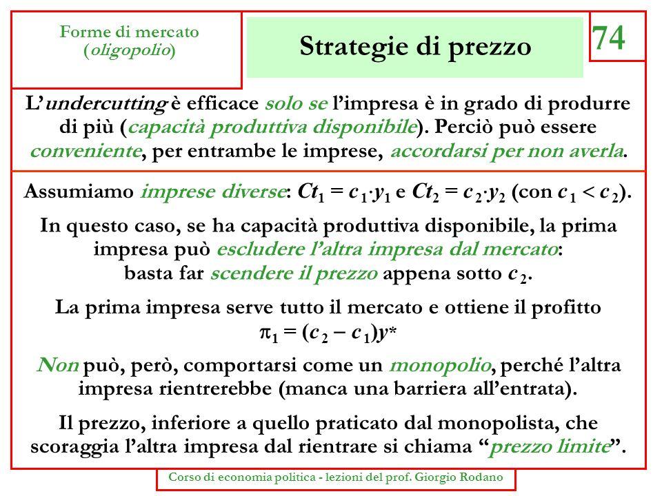 Strategie di prezzo 74 Forme di mercato (oligopolio) Corso di economia politica - lezioni del prof. Giorgio Rodano Lundercutting è efficace solo se li