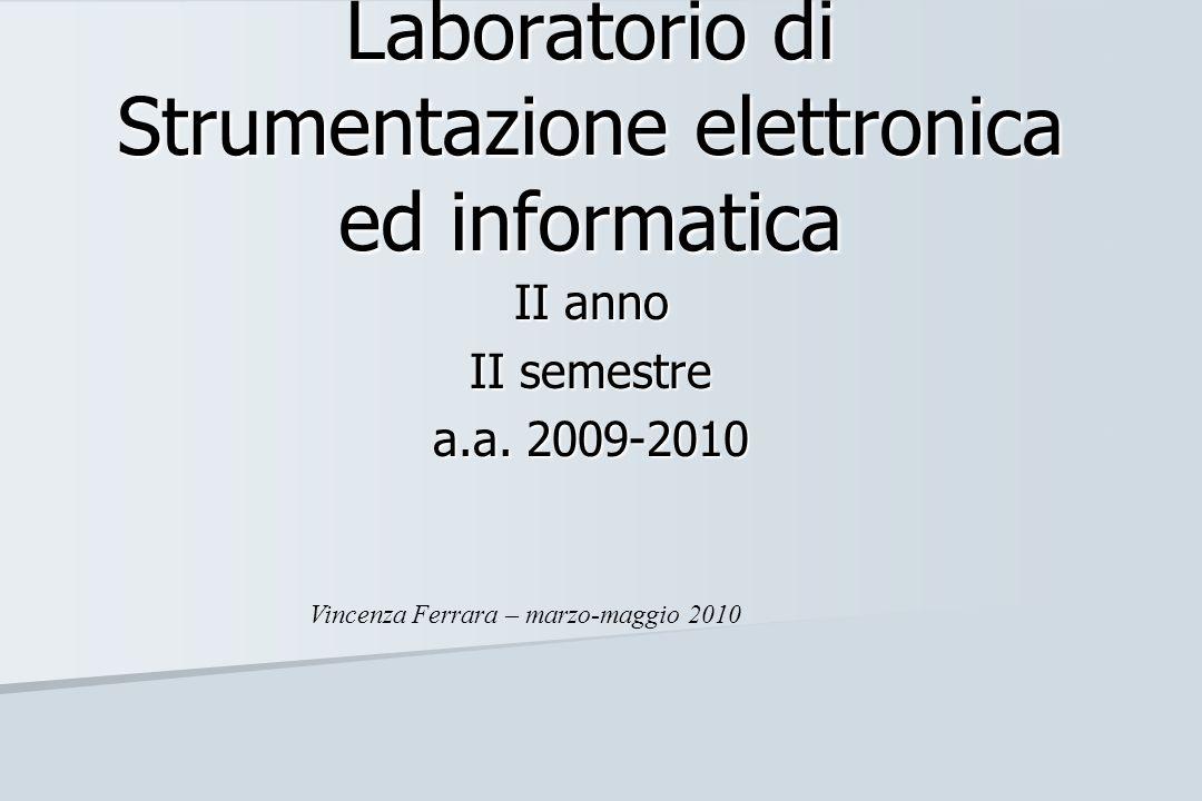 Laboratorio di Strumentazione elettronica ed informatica II anno II semestre a.a. 2009-2010 Vincenza Ferrara – marzo-maggio 2010