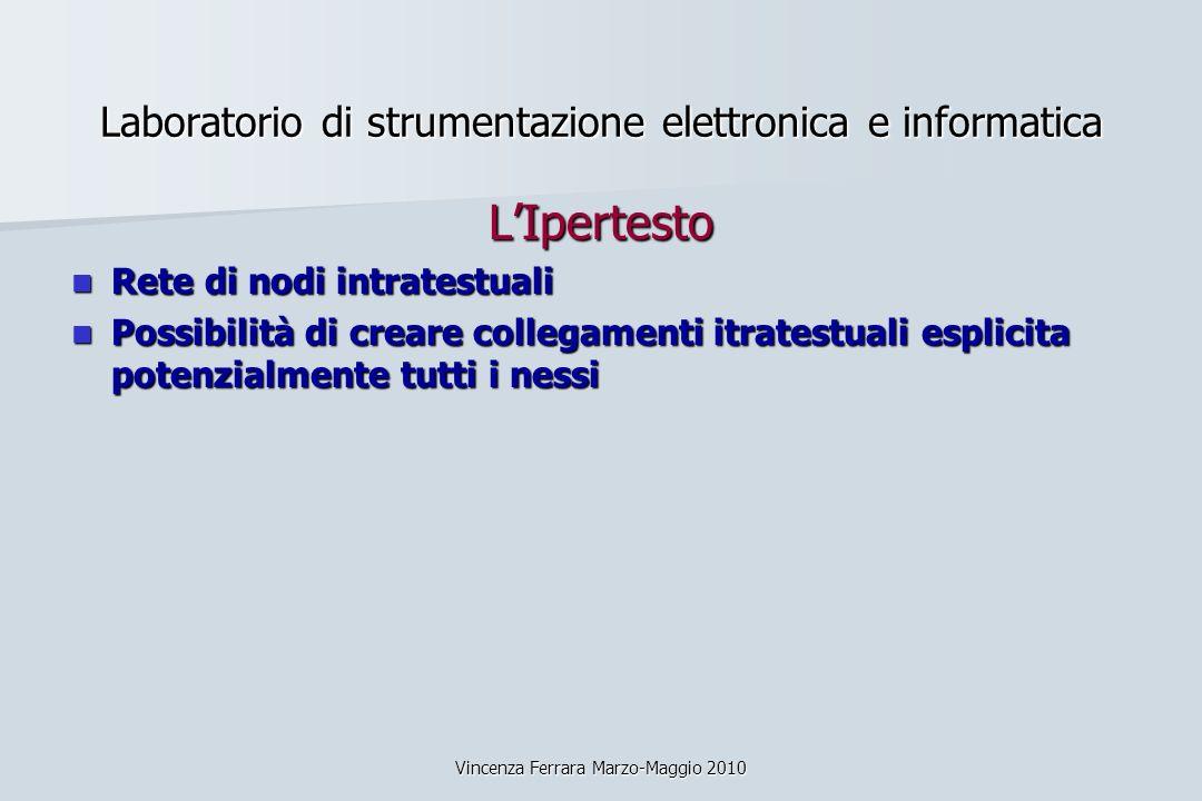 Vincenza Ferrara Marzo-Maggio 2010 Laboratorio di strumentazione elettronica e informatica LIpertesto Rete di nodi intratestuali Rete di nodi intrates