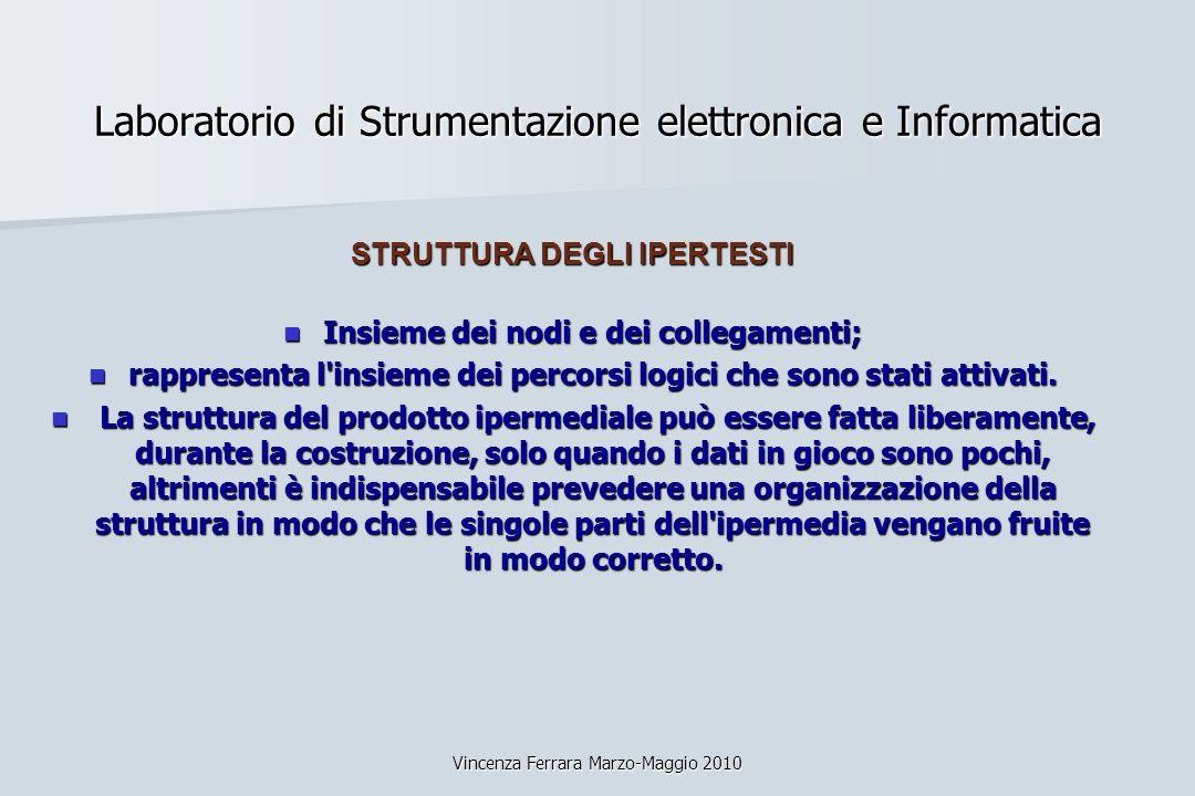 Vincenza Ferrara Marzo-Maggio 2010 Laboratorio di Strumentazione elettronica e Informatica STRUTTURA DEGLI IPERTESTI Insieme dei nodi e dei collegamen