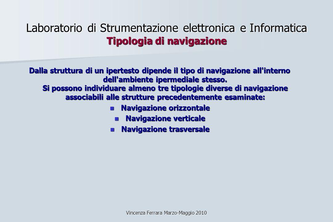 Vincenza Ferrara Marzo-Maggio 2010 Laboratorio di Strumentazione elettronica e Informatica Tipologia di navigazione Dalla struttura di un ipertesto di