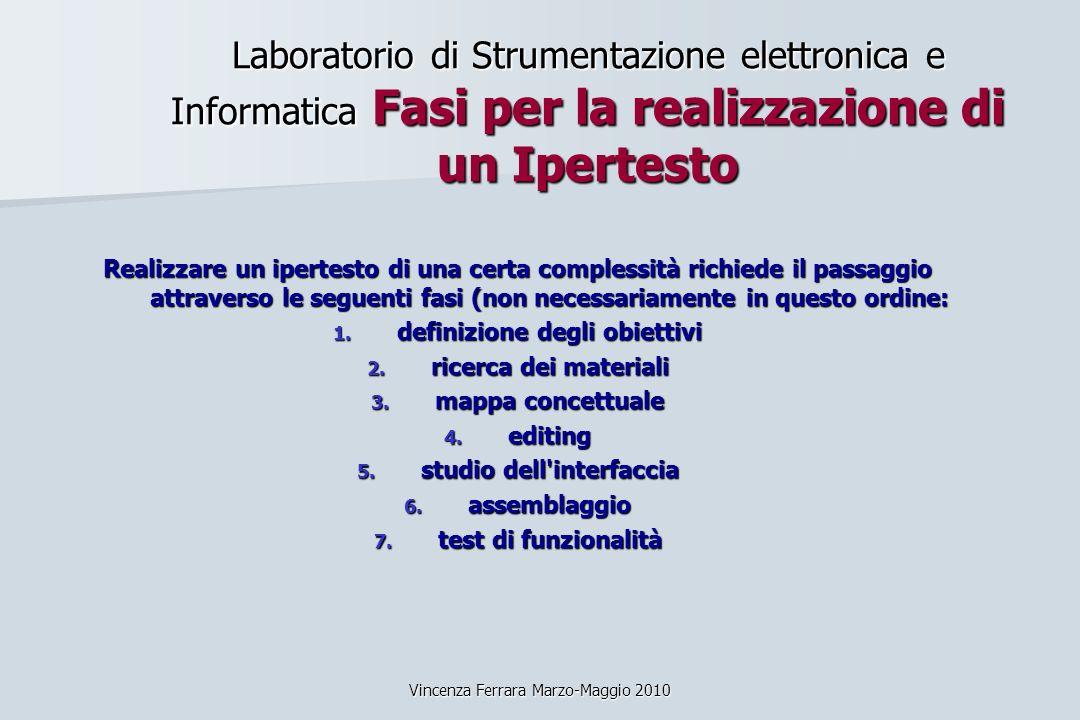 Vincenza Ferrara Marzo-Maggio 2010 Laboratorio di Strumentazione elettronica e Informatica Fasi per la realizzazione di un Ipertesto Realizzare un ipe