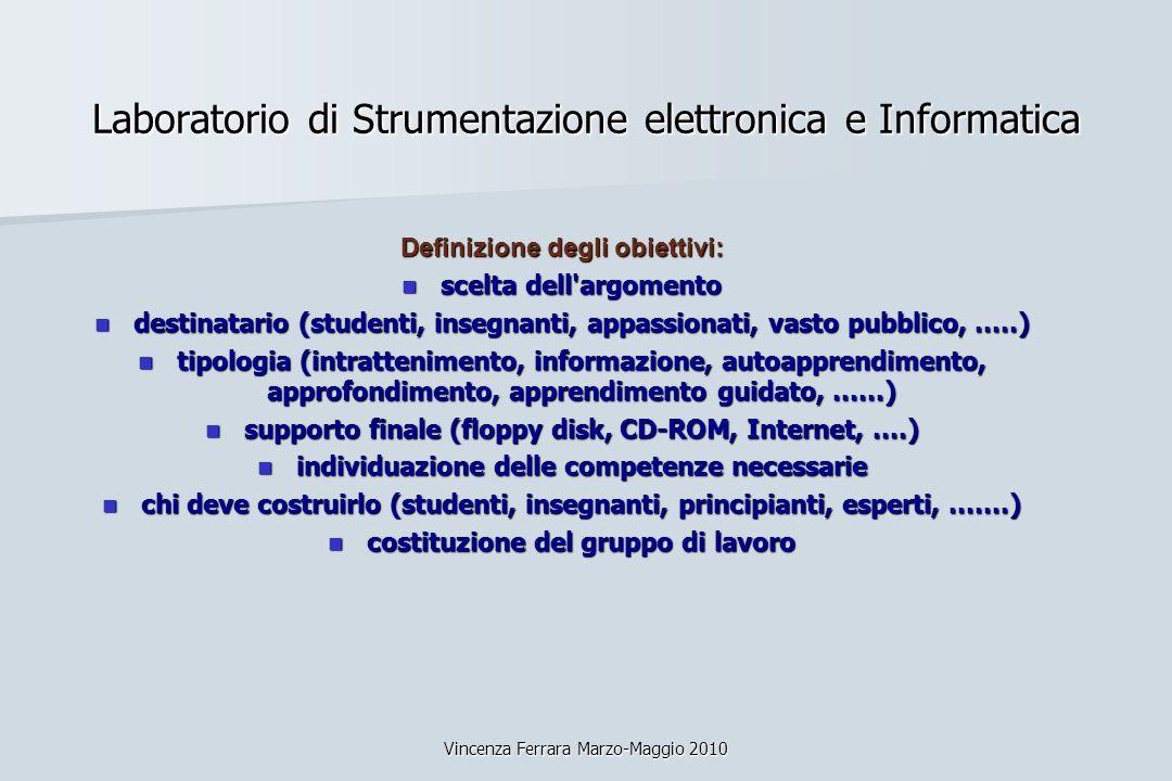 Vincenza Ferrara Marzo-Maggio 2010 Laboratorio di Strumentazione elettronica e Informatica Definizione degli obiettivi: scelta dell'argomento scelta d