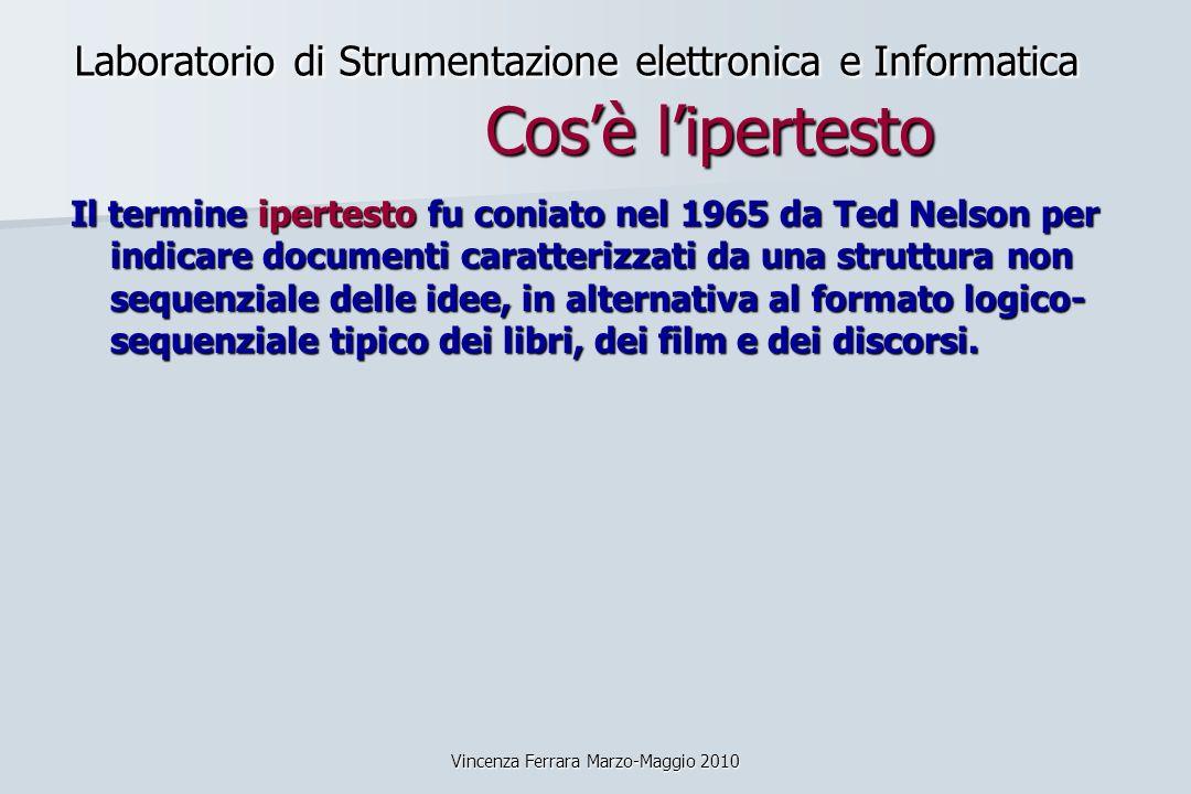 Vincenza Ferrara Marzo-Maggio 2010 Laboratorio di Strumentazione elettronica e Informatica Cosè lipertesto Il termine ipertesto fu coniato nel 1965 da