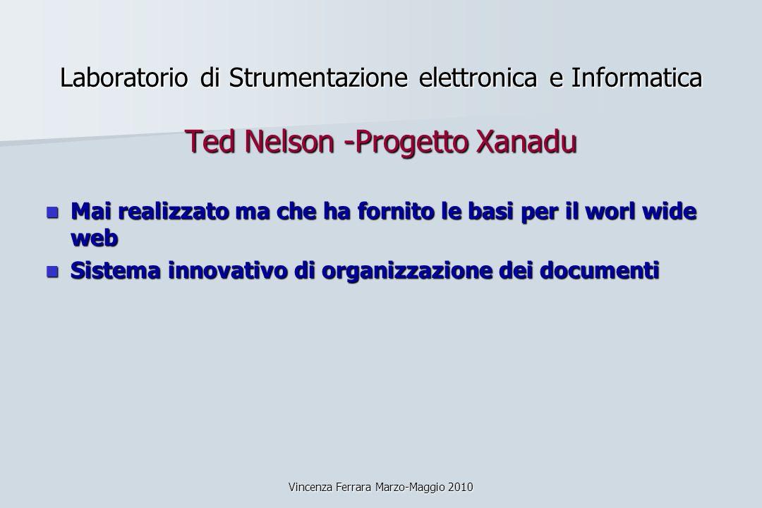 Vincenza Ferrara Marzo-Maggio 2010 Laboratorio di Strumentazione elettronica e Informatica Ted Nelson -Progetto Xanadu Mai realizzato ma che ha fornit