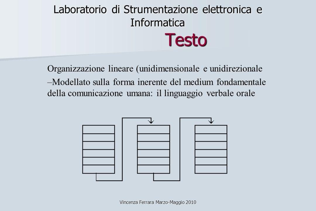 Vincenza Ferrara Marzo-Maggio 2010 Laboratorio di Strumentazione elettronica e Informatica Testo Organizzazione lineare (unidimensionale e unidirezion