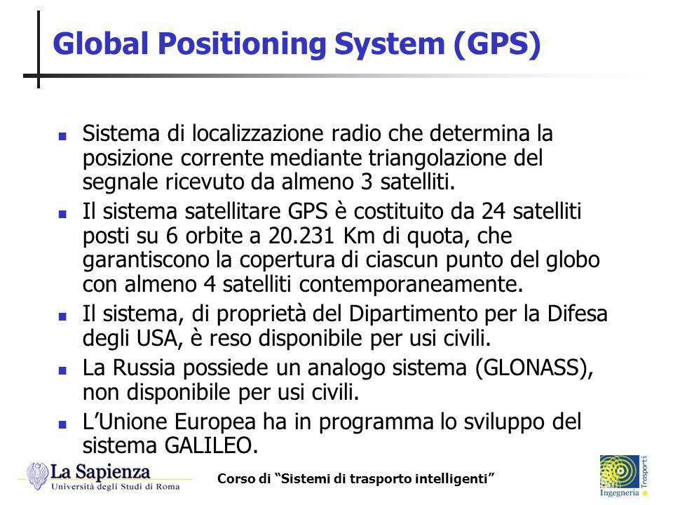 Corso di Sistemi di trasporto intelligenti Global Positioning System (GPS) Sistema di localizzazione radio che determina la posizione corrente mediant