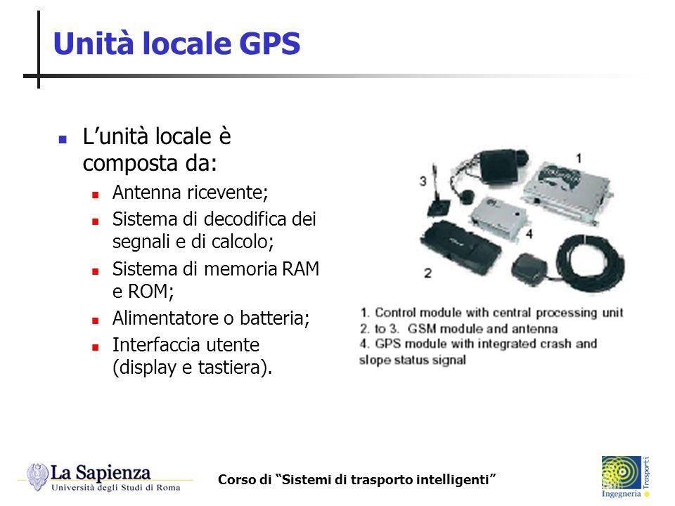 Corso di Sistemi di trasporto intelligenti Unità locale GPS Lunità locale è composta da: Antenna ricevente; Sistema di decodifica dei segnali e di cal
