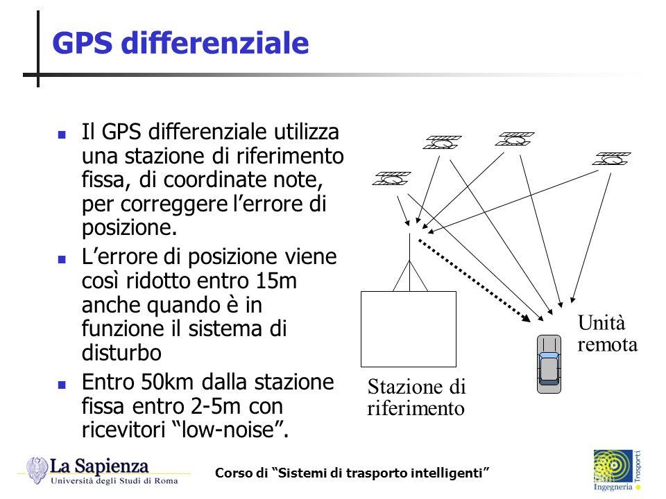 Corso di Sistemi di trasporto intelligenti GPS differenziale Il GPS differenziale utilizza una stazione di riferimento fissa, di coordinate note, per