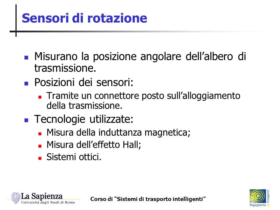 Corso di Sistemi di trasporto intelligenti Sensori di rotazione Misurano la posizione angolare dellalbero di trasmissione. Posizioni dei sensori: Tram