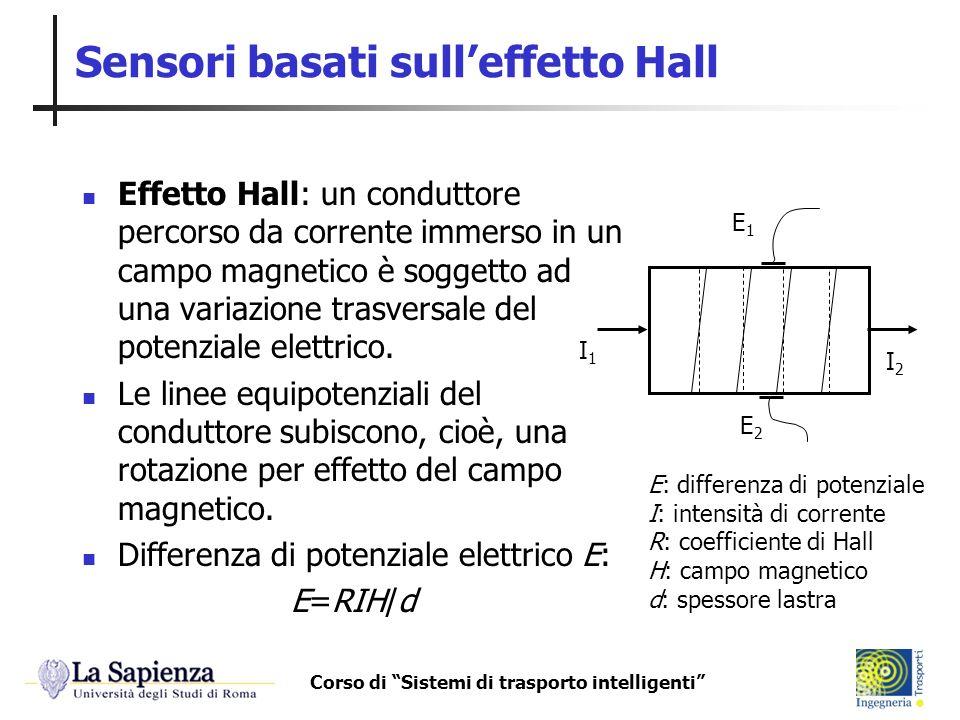 Corso di Sistemi di trasporto intelligenti Sensori basati sulleffetto Hall Effetto Hall: un conduttore percorso da corrente immerso in un campo magnet