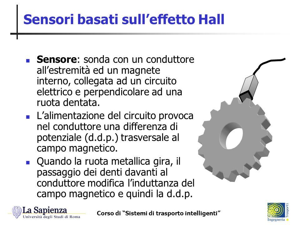 Corso di Sistemi di trasporto intelligenti Sensori basati sulleffetto Hall Sensore: sonda con un conduttore allestremità ed un magnete interno, colleg