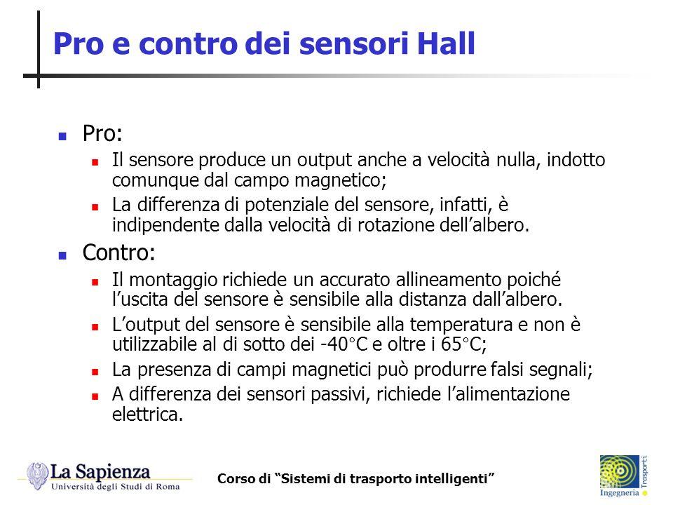Corso di Sistemi di trasporto intelligenti Pro e contro dei sensori Hall Pro: Il sensore produce un output anche a velocità nulla, indotto comunque da