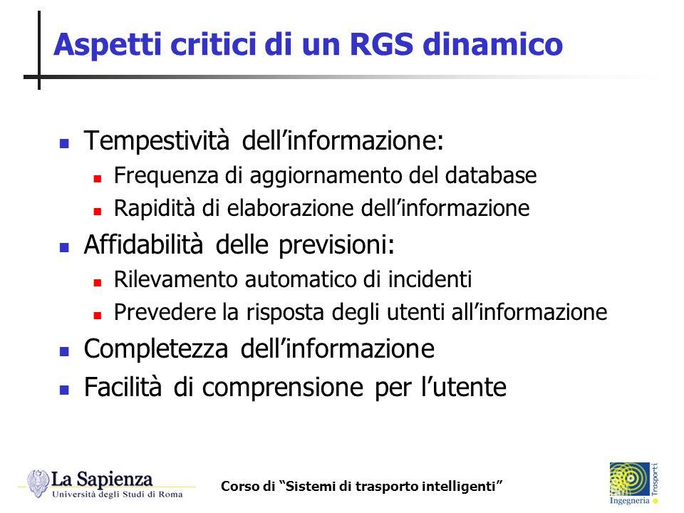 Corso di Sistemi di trasporto intelligenti Aspetti critici di un RGS dinamico Tempestività dellinformazione: Frequenza di aggiornamento del database R