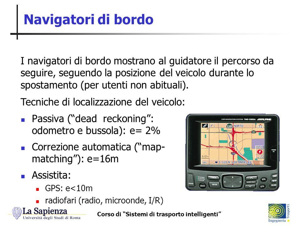 Corso di Sistemi di trasporto intelligenti Navigatori di bordo Passiva (dead reckoning: odometro e bussola): e= 2% Correzione automatica (map- matchin