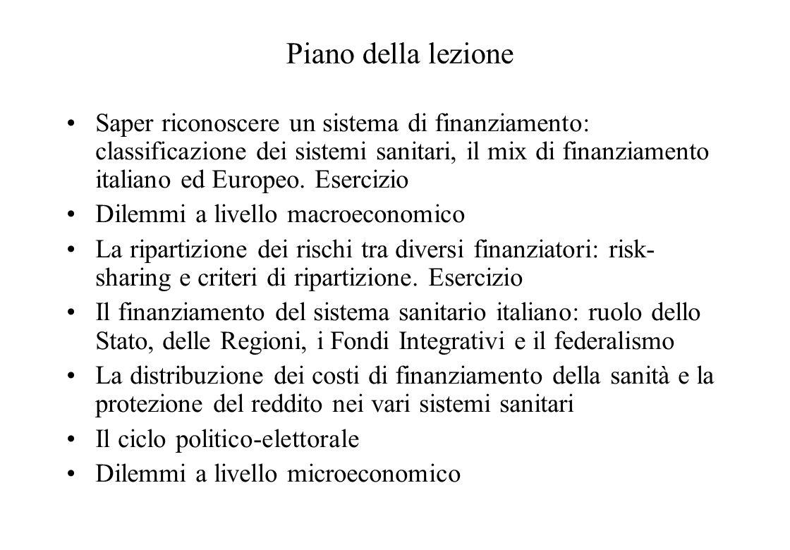 Il finanziamento dei servizi sanitari e sistemi sanitari comparati Aspetti teorici ed applicazioni al caso italiano