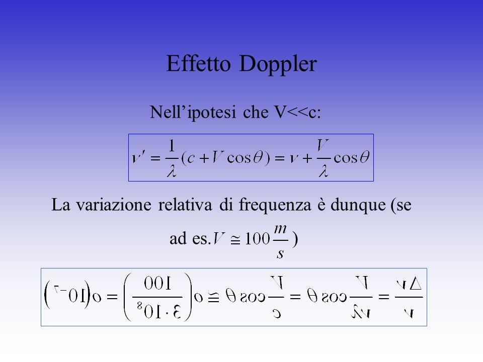 Effetto Doppler La variazione relativa di frequenza è dunque (se ad es. ) Nellipotesi che V<<c: