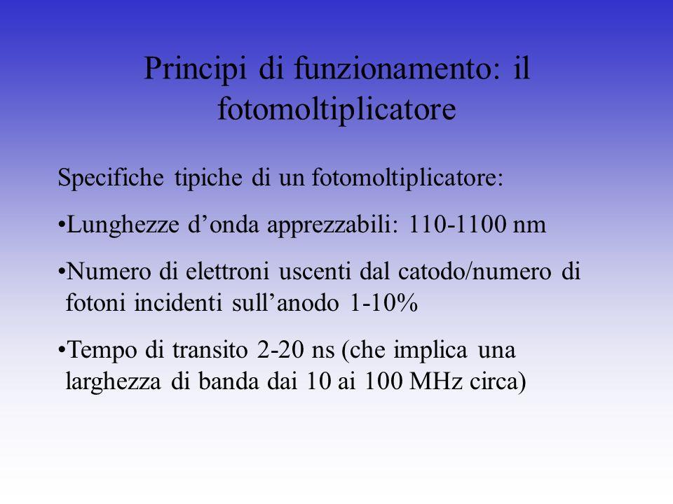 Specifiche tipiche di un fotomoltiplicatore: Lunghezze donda apprezzabili: 110-1100 nm Numero di elettroni uscenti dal catodo/numero di fotoni inciden