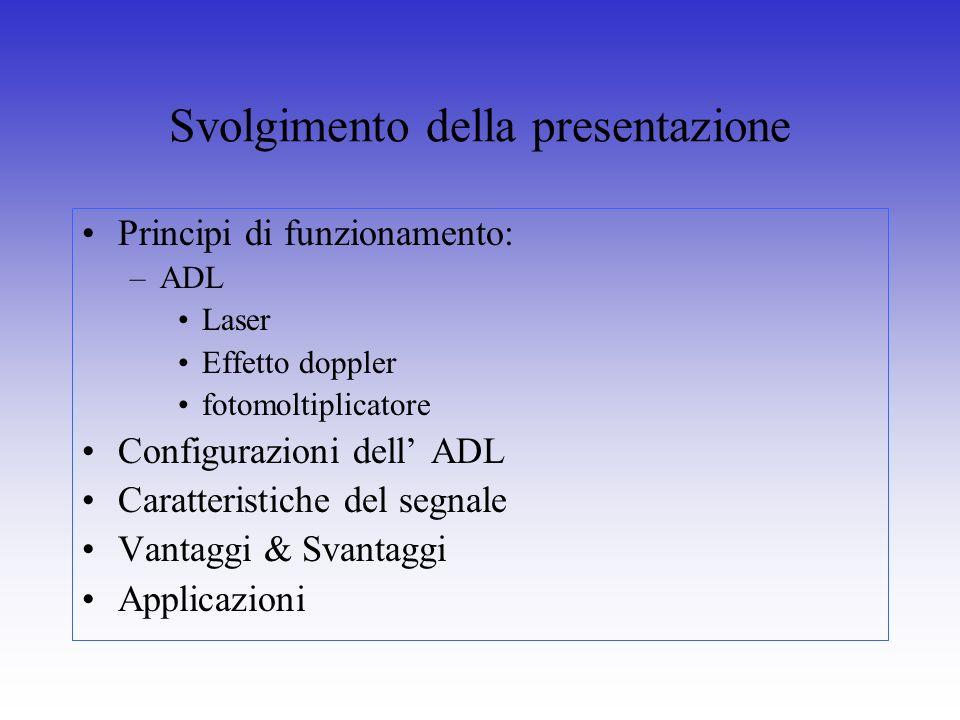 Svolgimento della presentazione Principi di funzionamento: –ADL Laser Effetto doppler fotomoltiplicatore Configurazioni dell ADL Caratteristiche del s
