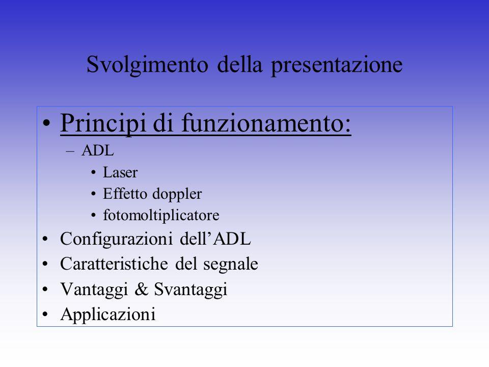 Svolgimento della presentazione Principi di funzionamento: –ADL Laser Effetto doppler fotomoltiplicatore Configurazioni dellADL Caratteristiche del se