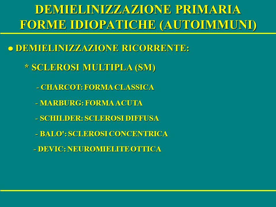 DEMIELINIZZAZIONE PRIMARIA FORME IDIOPATICHE (AUTOIMMUNI) l DEMIELINIZZAZIONE RICORRENTE: l DEMIELINIZZAZIONE RICORRENTE: * SCLEROSI MULTIPLA (SM) * S