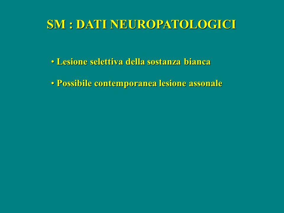 SM : DATI NEUROPATOLOGICI Lesione selettiva della sostanza bianca Lesione selettiva della sostanza bianca Possibile contemporanea lesione assonale Pos
