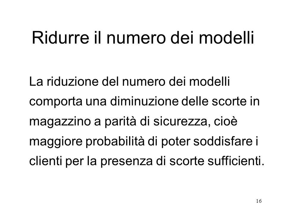 16 Ridurre il numero dei modelli La riduzione del numero dei modelli comporta una diminuzione delle scorte in magazzino a parità di sicurezza, cioè ma