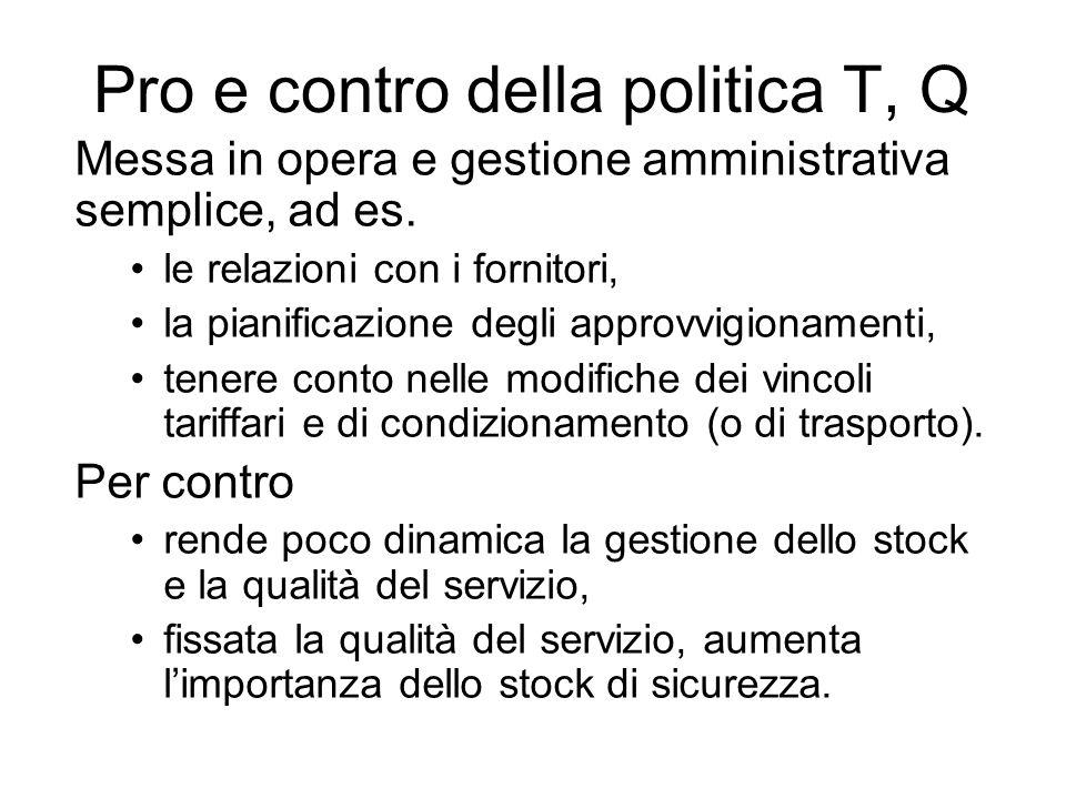 Pro e contro della politica T, Q Messa in opera e gestione amministrativa semplice, ad es. le relazioni con i fornitori, la pianificazione degli appro
