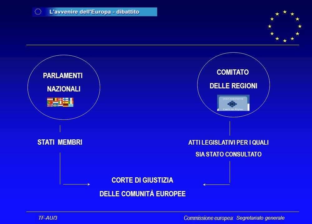 Segretariato generale PARLAMENTI NAZIONALI COMITATO DELLE REGIONI CORTE DI GIUSTIZIA DELLE COMUNITÀ EUROPEE STATI MEMBRI ATTI LEGISLATIVI PER I QUALI SIA STATO CONSULTATO TF-AU/3 Commissione europea: