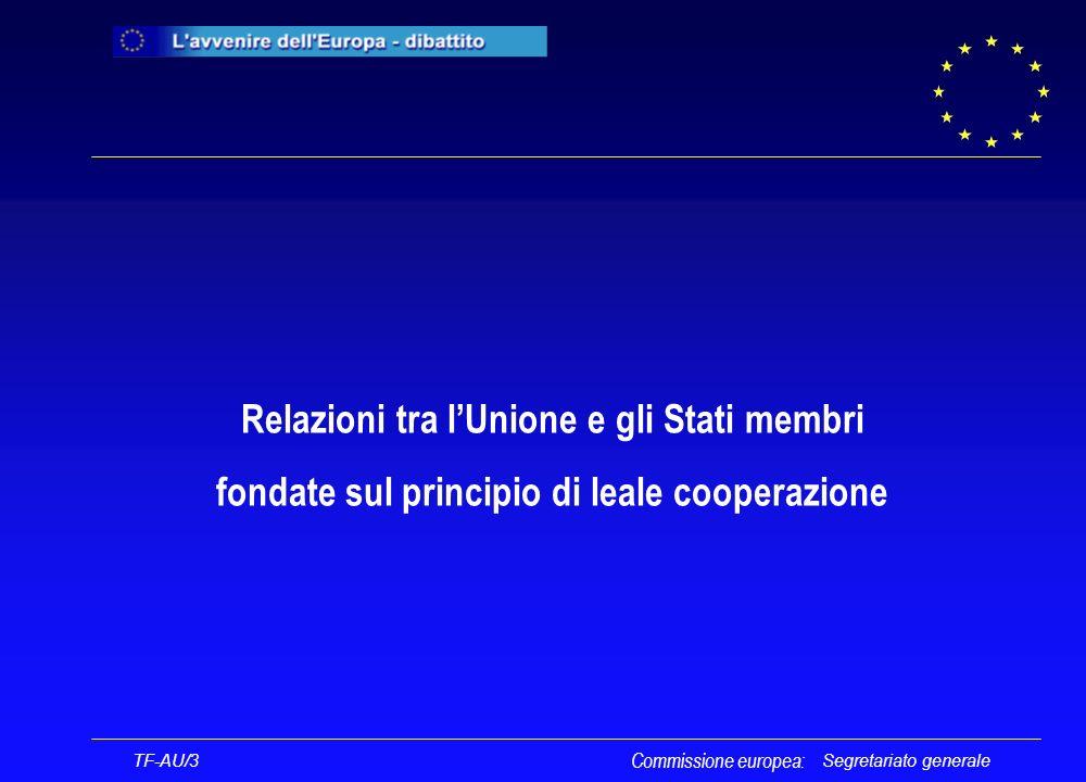 Segretariato generale TF-AU/3 Commissione europea: UNIONE EUROPEA STATI MEMBRI STRUTTURE FONDAMENTALI E COSTITUZIONALI AUTONOMIE REGIONALI E LOCALI SALVAGUARDIA DELLINTEGRITÀ TERRITORIALE MANTENIMENTO DELLORDINE PUBBLICO TUTELA DELLINTERESSE GENERALE RISPETTO Principio di leale cooperazione