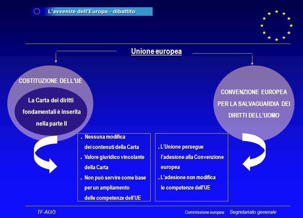 Segretariato generale COSTITUZIONE DELL UE La Carta dei diritti fondamentali è inserita nella parte II Unione europea l Nessuna modifica l Nessuna modifica dei contenuti della Carta dei contenuti della Carta l Valore giuridico vincolante della Carta della Carta l Non può servire come base per un ampliamento per un ampliamento delle competenze dellUE delle competenze dellUE CONVENZIONE EUROPEA PER LA SALVAGUARDIA DEI DIRITTI DELLUOMO l LUnione persegue ladesione alla Convenzione ladesione alla Convenzione europea europea l Ladesione non modifica le competenze dell UE le competenze dell UE TF-AU/3 Commissione europea: