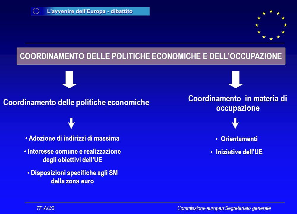 Segretariato generale Commissione europea: TF-AU/3 La clausola di flessibilità Necessità di unazione dell UE per realizzare uno degli obiettivi stabiliti dalla costituzione Mancanza di competenze dell UE in questo settore Nessuna armonizzazione