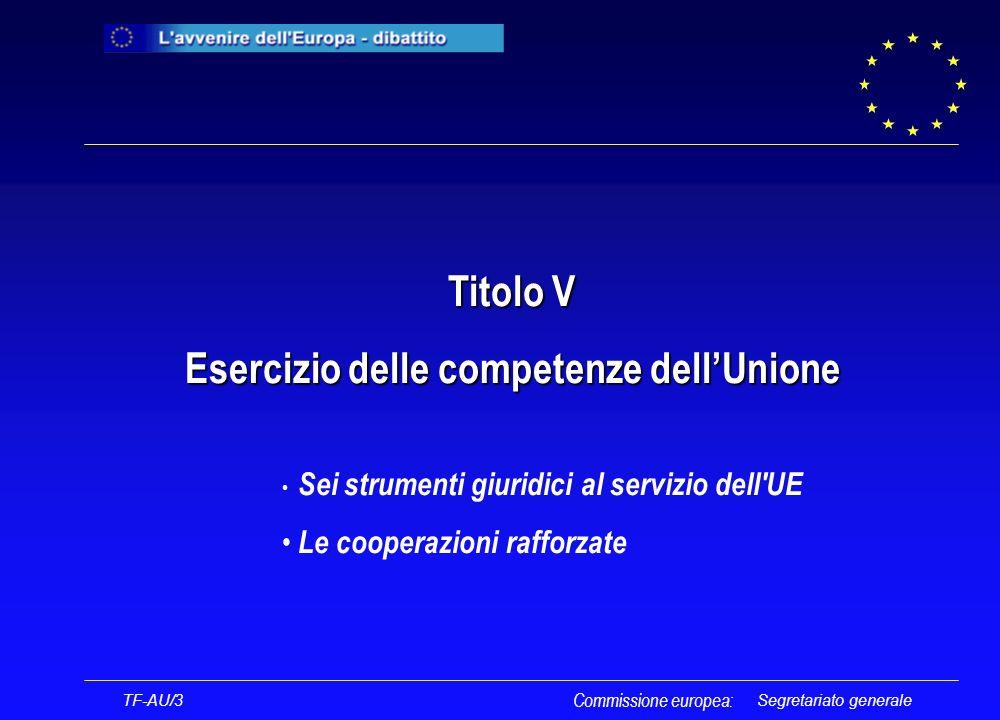 Segretariato generale Titolo V Esercizio delle competenze dellUnione Sei strumenti giuridici al servizio dell UE Le cooperazioni rafforzate TF-AU/3 Commissione europea: