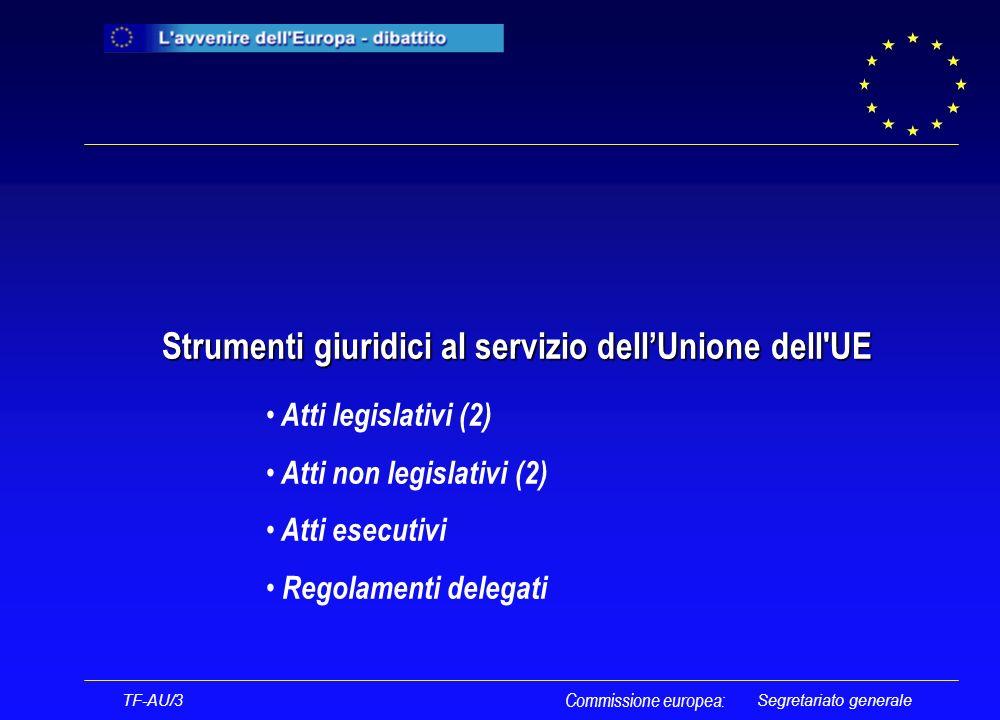 Segretariato generale Strumenti giuridici al servizio dellUnione dell UE Strumenti giuridici al servizio dellUnione dell UE TF-AU/3 Commissione europea: Atti legislativi (2) Atti non legislativi (2) Atti esecutivi Regolamenti delegati