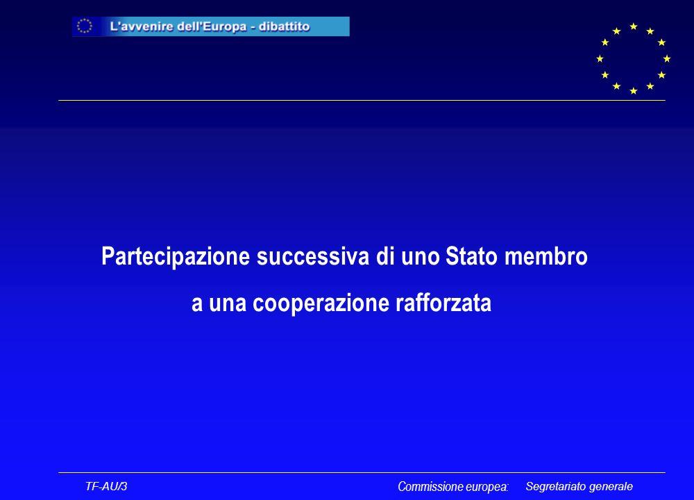 Segretariato generale TF-AU/3 Commissione europea: CONSIGLIO COMMISSIONE EUROPEA STATO MEMBRO MINISTRO DEGLI AFFARI ESTERI NOTIFICA DELLA RICHIESTA DI PARTECIPAZIONE 4 MESI CONFERMA DELLA PARTECIPAZIONE RIFIUTO ALLA PARTECIPAZIONE RIESAME DELLA RICHIESTA DISPOSIZIONI CHE LO STATO MEMBRO DEVE ADOTTARE LO STATO MEMBRO SOTTOPONE LA QUESTIONE AL CONSIGLIO NELLEVENTUALITÀ DI UN SECONDO RIFIUTO