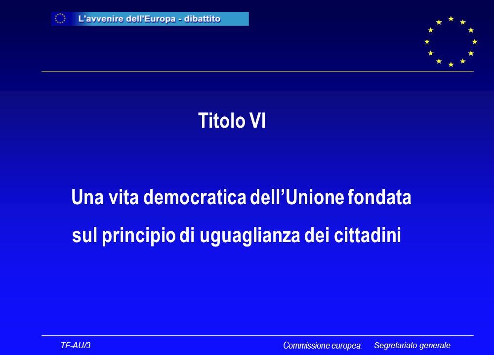 Segretariato generale Titolo VI Una vita democratica dellUnione fondata sul principio di uguaglianza dei cittadini Commissione europea: TF-AU/3