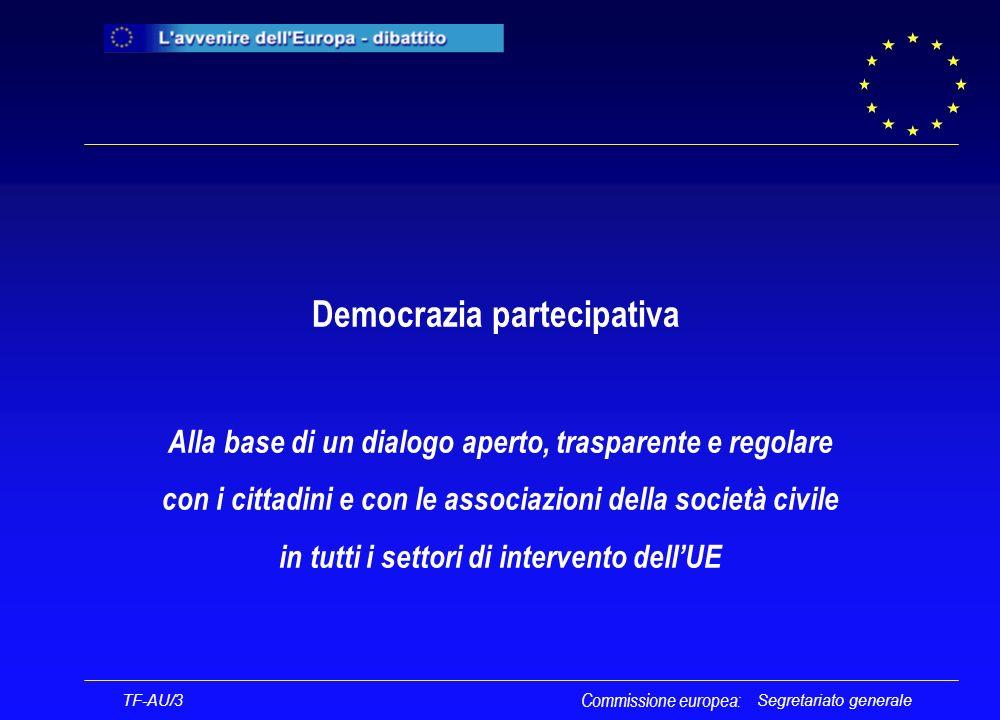 Segretariato generale Democrazia partecipativa Alla base di un dialogo aperto, trasparente e regolare con i cittadini e con le associazioni della società civile in tutti i settori di intervento dellUE Commissione europea: TF-AU/3