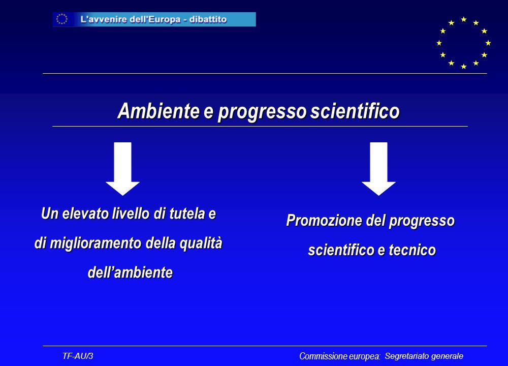 Segretariato generale Un elevato livello di tutela e di miglioramento della qualità dellambiente Ambiente e progresso scientifico TF-AU/3 Commissione europea: Promozione del progresso scientifico e tecnico