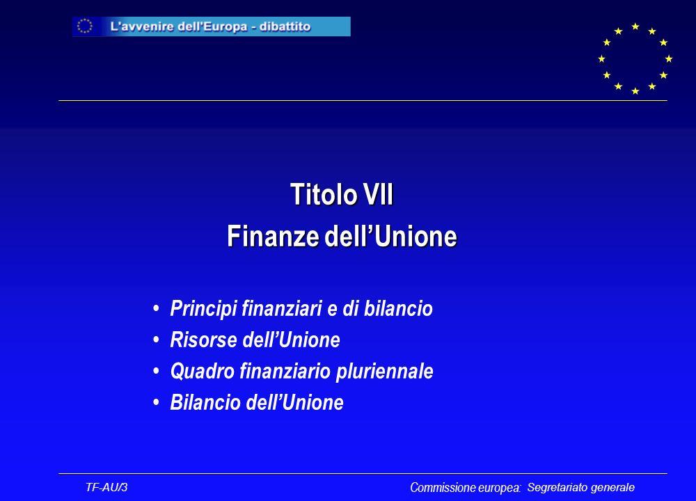 Segretariato generale Titolo VII Finanze dellUnione Principi finanziari e di bilancio Risorse dellUnione Quadro finanziario pluriennale Bilancio dellUnione Commissione europea: TF-AU/3