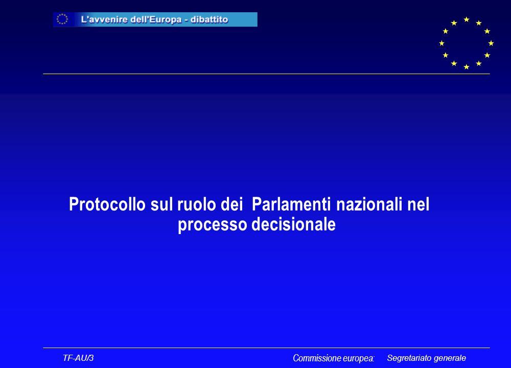 Segretariato generale Protocollo sul ruolo dei Parlamenti nazionali nel processo decisionale TF-AU/3 Commissione europea: