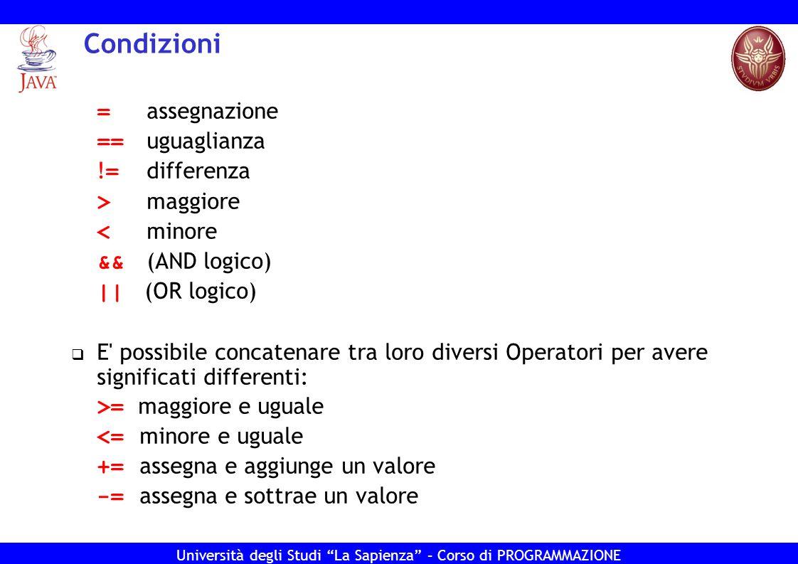Università degli Studi La Sapienza – Corso di PROGRAMMAZIONE Condizioni = assegnazione == uguaglianza ! = differenza > maggiore < minore && (AND logic