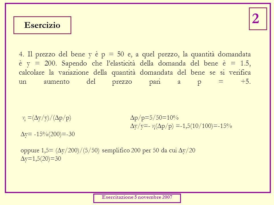 4. Il prezzo del bene y è p = 50 e, a quel prezzo, la quantità domandata è y = 200.